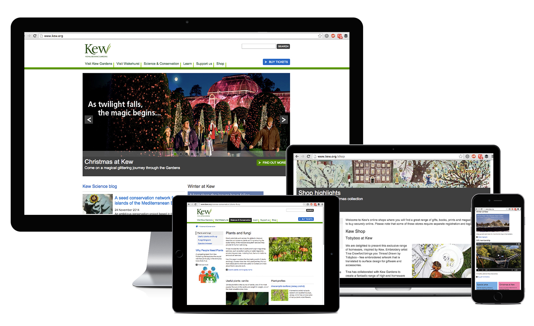 Kew Gardens website on different devices