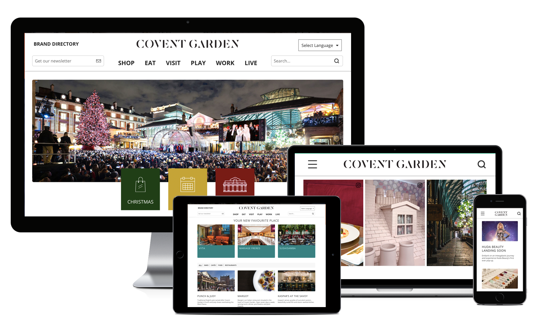 Desktop, Macbook, tablet and iPhone showing pages from Covent Garden's website