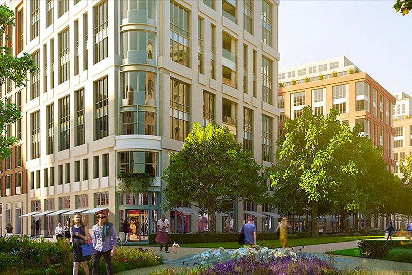 Mockup of Earls Court real estate showing buildings