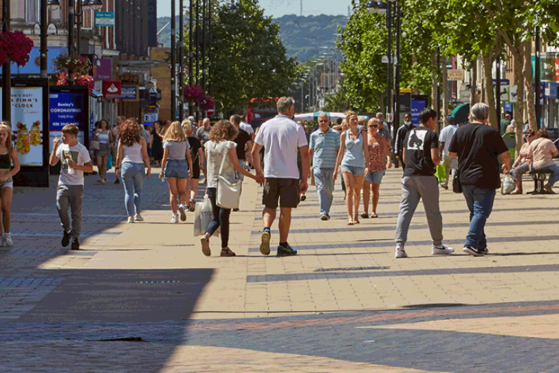 High street in Bexley with people walking