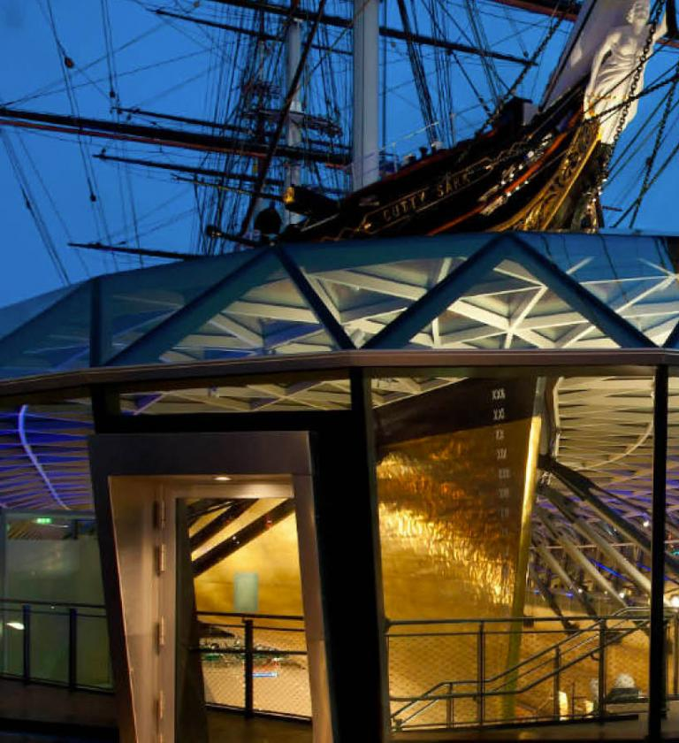 Image of the Cutty Sark at night